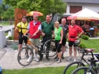 Radfahrer in der Radlerstation Sandhof